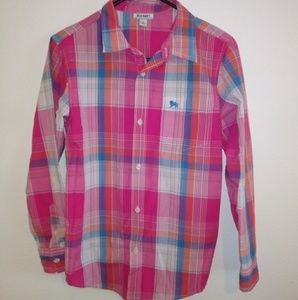 Old Navy Pink Plaid Button Down Shirt for Boys!